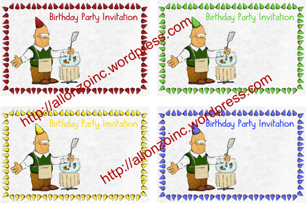 Birtday Party Invitation Card combined