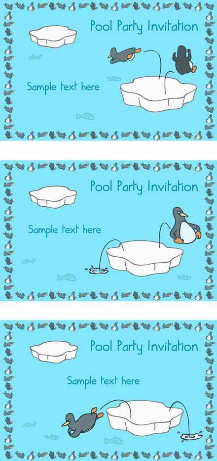 Penguin Pool Party Invitation Card