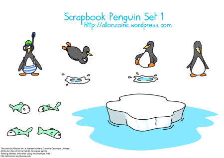 Scrapbook Penguin Set 1