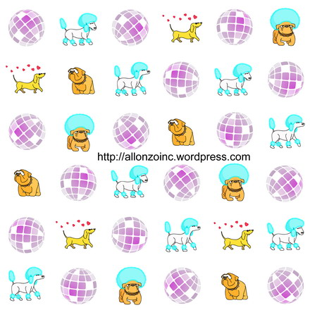 Disco Poodle Seamless Background