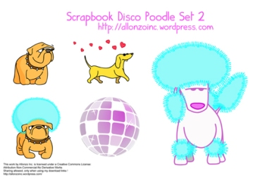 Scrapbook Disco Poodle Set 2 by Allonzo Inc