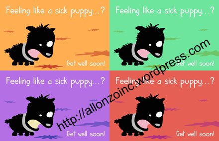 Sick Puppy Get Well Soon Card combined