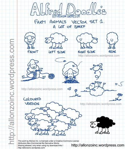 Farm Animals Doodle Set 1