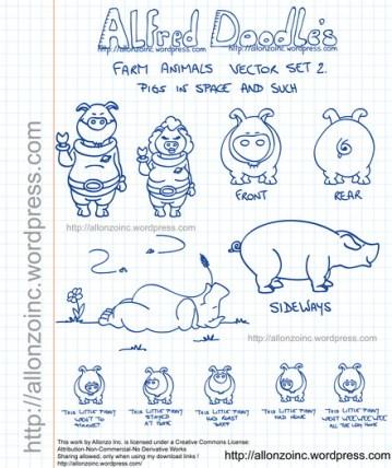 Farm Animals Doodle Set 2