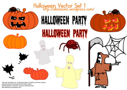 Vector Halloween Set 1 by Allonzo Inc
