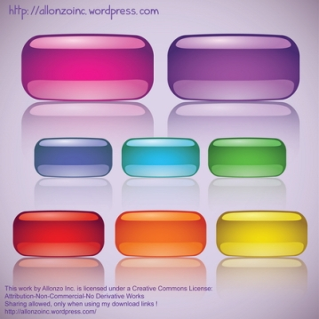 Vector - Colorful Aqua Buttons by Allonzo Inc