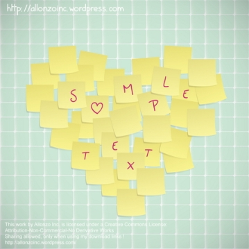 Vector - Sticky Notes Valentine Card by Allonzo Inc
