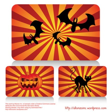 Vector - Halloween Cards Set 2 by Allonzo Inc Designs