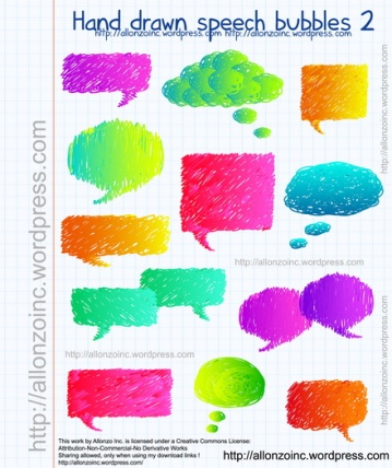 Vector - Hand Drawn Speech Bubbles 2 by Allonzo Inc Designs